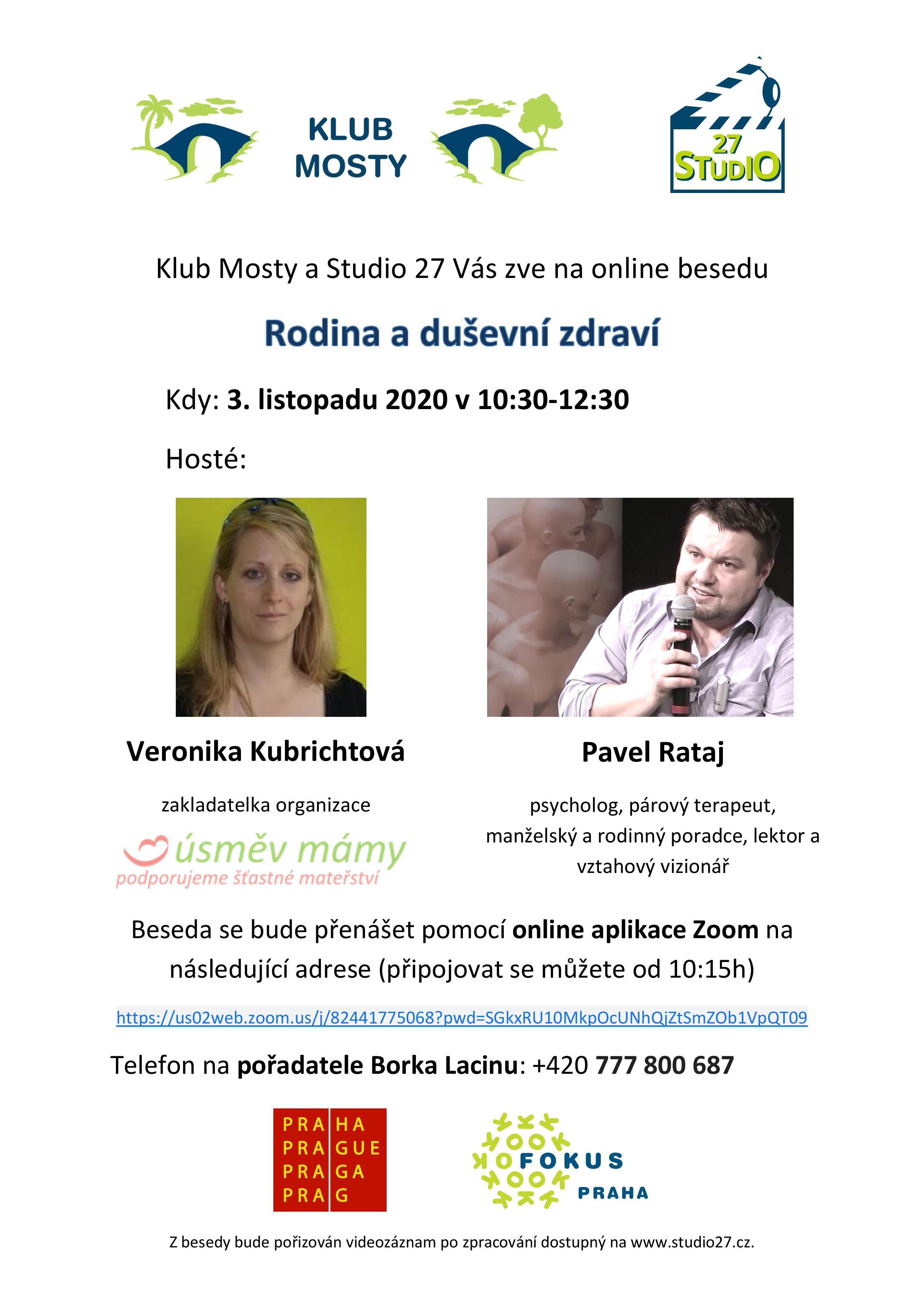 Studio 27 - Pozvánka na besedu Rodina a duševní zdraví - online 3.11.2020 v 10:30