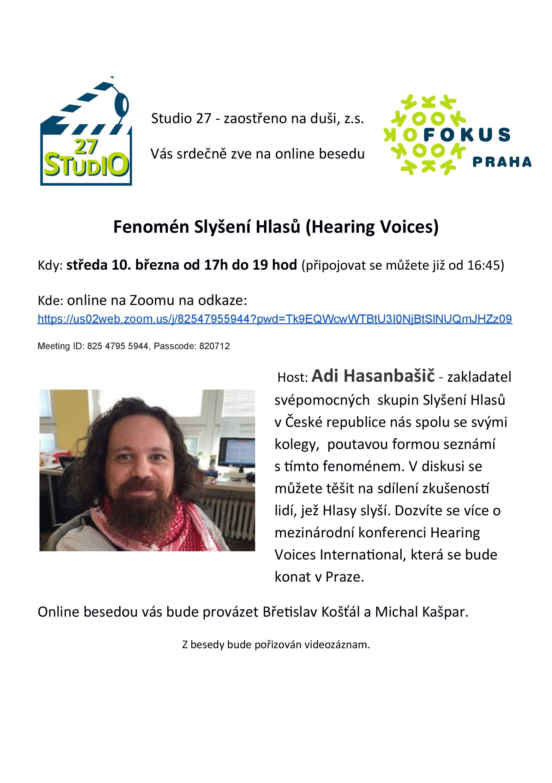 Studio 27 - pozvánka na besedu Fenomén Slyšení Hlasů (Hearing Voices), středa 10.3.2021, 17h, online
